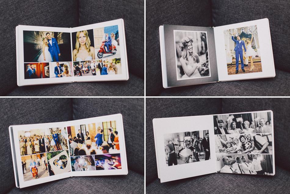 kilka elegancko zaprojektowanych rozkładówek fotoalbumu ślubnego Magdy i Bartka