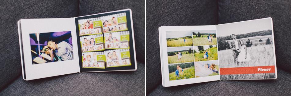 Zdjecia z Fotobudki pofoto oraz plener na rozkałdówkach fotoalbumu ślubnego