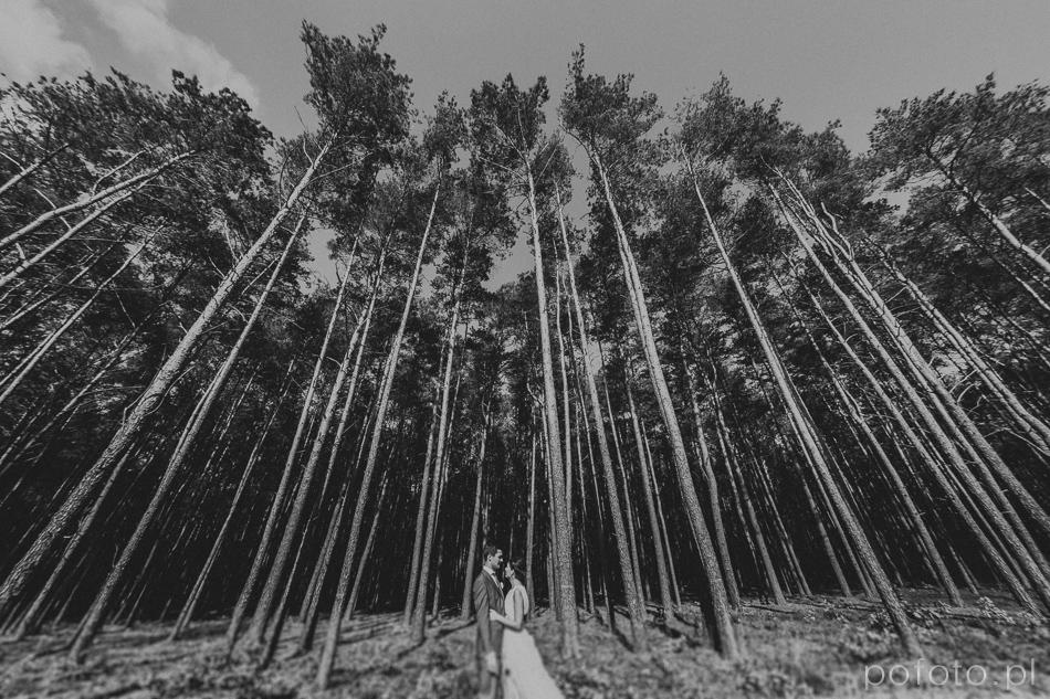 młoda para na tle lasu