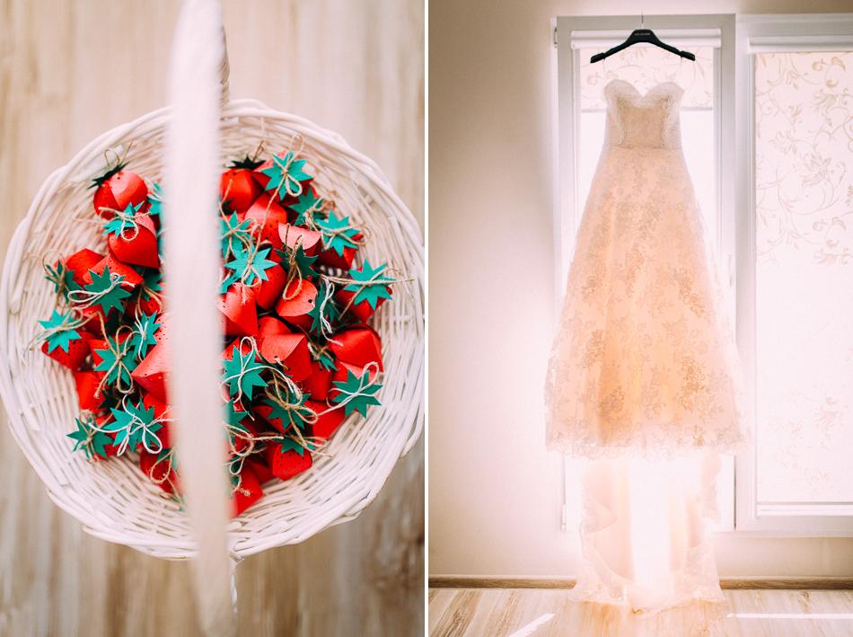 suknia panny młodej oraz podarki dla gości ślubnych