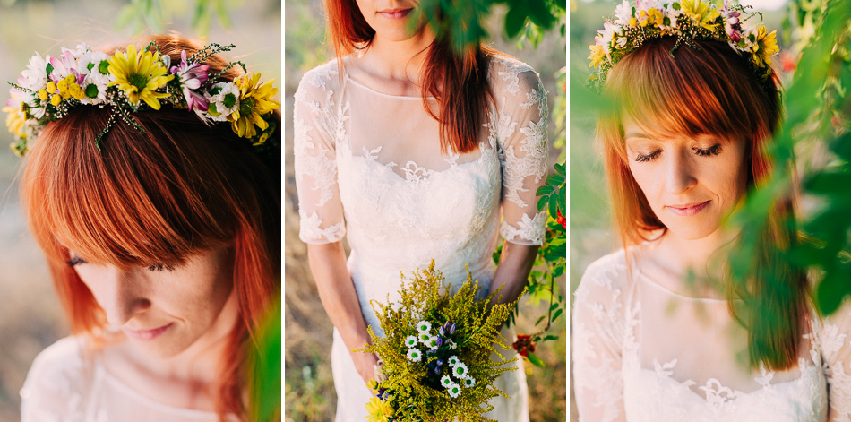 portret panny młodej podczas pleneru, wianek z kwiatów